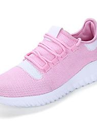 Femme Chaussures d'Athlétisme Confort Tulle Printemps Automne Décontracté Marche Confort Lacet Talon Plat Noir Rose et blanc Kaki 5 à 7 cm