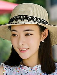 Feminino Casual Palha Verão Chapéu de sol,Patchwork