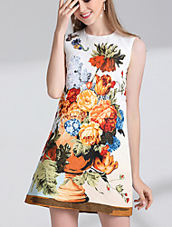 Women's Going out Cute A Line Dress,Jacquard Round Neck Above Knee Sleeveless Polyester Summer Mid Rise Inelastic Medium