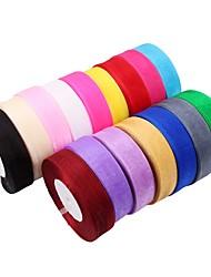 1pc couleur aléatoire 45m / lot jolie soie satin ruban largeur 25mm fête de mariage décoration invitation carte emballage cadeau