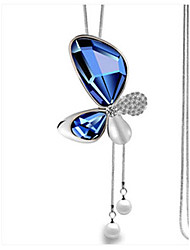 Women's Pendant Necklaces Rhinestone Butterfly Glass Alloy Euramerican Fashion Jewelry 1 piece