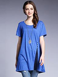 Tee-shirt Femme,Couleur Pleine Sortie Décontracté / Quotidien simple Eté Manches Courtes Col Arrondi Coton Spandex Moyen