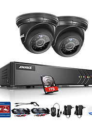 ANNKE® 4CH 2PCS TVI 720P HD 4 in 1 Video Monitor P2P Camera Weatherproof Surveillance Security System