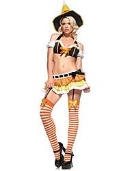 Costumes de Cosplay Sorcier/Sorcière Fête / Célébration Déguisement d'Halloween Autres Haut Jupe Chapeau Halloween FémininElasthanne