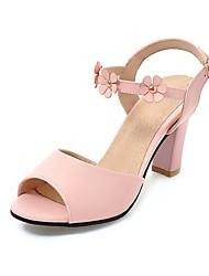 Damen-Sandalen-Lässig-Tüll Kunstleder-Blockabsatz-Komfort-