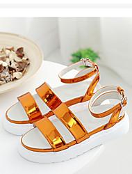 Damen-Sandalen-Lässig-MikrofaserLeuchtende Sohlen-Gold Silber