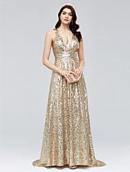 Eng anliegend V-Ausschnitt Pinsel Schleppe Pailletten Formeller Abend Kleid mit Horizontal gerüscht durch TS Couture®