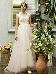 A-line High Neck Sweep / Brush Train Tulle Wedding Dress with Beading Sequin Sash / Ribbon Bow Flower by LAN TING BRIDE®