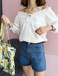 Damen Solide Einfach Ausgehen T-shirt,Bateau ¾-Arm Polyester