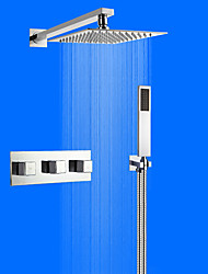 Contemporary Wall Mounted Rain Shower Handshower Included with  Ceramic Valve Two Handles Four Holes for  Chrome , Shower Faucet