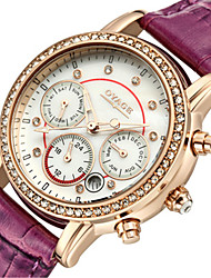 Women's Fashion Watch Swiss Quartz Genuine Leather Band Red Pink Rose Red Red Peach Purple