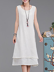 Women's Plus Size Casual/Daily Simple Loose Dress,Solid Round Neck Midi Sleeveless Cotton Summer Mid Rise Inelastic Medium