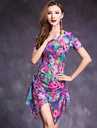Dança do Ventre Vestidos Mulheres Actuação Elastano 2 Peças Manga Curta Natural Vestido Calções