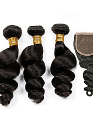 4Pcs/Lot Peruvian Virgin Hair Loose Wave Hair Weft With 1Pcs Lace Closure Free Part Raw Human Hair Weaves