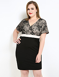 Really Love Women's Plus Size Sexy Street chic Sophisticated Sheath Lace T Shirt Dress,Color Block V Neck Knee-length Short Sleeve Cotton Polyester
