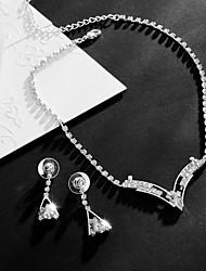 Set de Bijoux Zircon cubique Pendant Mode Cristal Goutte Argent 1 Collier 1 Paire de Boucles d'Oreille PourMariage Soirée Occasion