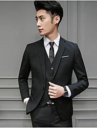 Costume / Tailleur Homme,Couleur Pleine Travail simple Printemps Manches longues Col de Chemise Court Autres