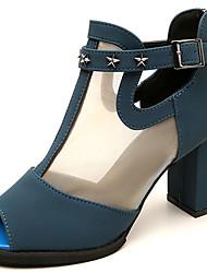 Women's Sandals Summer Comfort PU Outdoor Chunky Heel Ribbon Tie Burgundy Blue Black Walking