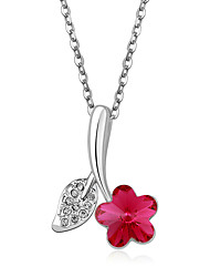 Women's Pendant Necklaces Crystal Chrome Flower Style Euramerican Fashion Personalized Light Green Light Blue Red Rose Red Rainbow Jewelry