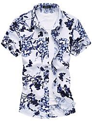 Masculino Camisa Social Casual Praia Simples Activo Verão,Floral Algodão Raiom Colarinho de Camisa Manga Curta Fina