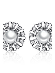 Women's Stud Earrings AAA Cubic Zirconia Floral Sterling Silver Imitation Pearl Jewelry For Wedding Party Daily Casual