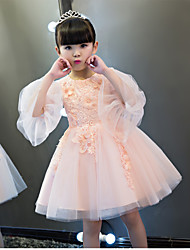 BONJEAN Ball Gown Knee-length Flower Girl Dress - Organza Jewel with Beading Appliques Flower(s)