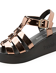 Women's Sandals Gladiator PU Spring Summer Casual Dress Gladiator Buckle Flat Heel White Black Ruby Champagne 3in-3 3/4in