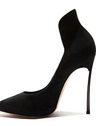Черный-Для женщин-Свадьба Для прогулок Для праздника Повседневный Для вечеринки / ужина-Замша Овчина-На шпильке-Удобная обувь