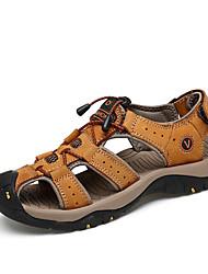 Men's Sandals Summer Fall Comfort Cowhide Leather Outdoor Athletic Casual Flat Heel Hook & Loop Dark Brown Light Brown