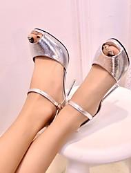 Damen-Sandalen-Lässig-PUKomfort-Gold Silber