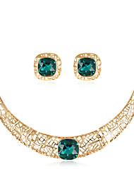 Mulheres Conjunto de Jóias Colar Moda Euramerican bijuterias Vidro Liga Forma Geométrica 1 Colar 1 Par de Brincos Para Casamento Festa
