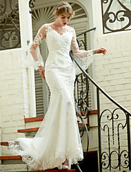 Mermaid / Trumpet V-neck Court Train Lace Wedding Dress with Appliques Button by LAN TING BRIDE®