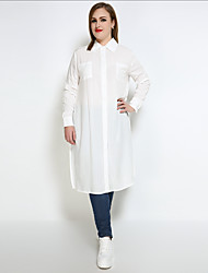 Really Love Women's Plus Size Casual/Daily Work Sexy Simple Street chic All Seasons Shirt,Solid Shirt Collar Long Sleeve Cotton Opaque Medium