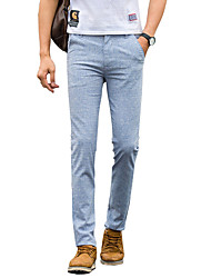 Hombre Tiro Bajo Micro-elástica Chinos Empresa Pantalones,Corte Recto Delgado Un Color