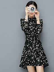 Sign 2017 spring new Women Korean long-sleeved dress a small floral pattern skirt waist dovetail