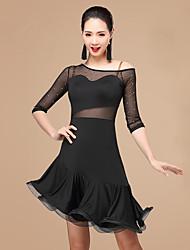 Vamos a la latina vestidos de danza mujeres poliester rhinestone 2 piezas danza traje