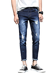 Men's Mid Rise Micro-elastic Jeans PantsSimple Slim Ripped Tassel Solid ACD-A169