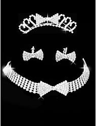 Набор украшений Стразы Любовь Стразы В форме банта 1 ожерелье 1 пара сережек 1 украшение для волос ДляСвадьба Для вечеринок Особые случаи