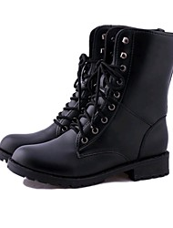 Women's Boots Fall Winter Couple Shoes Leatherette Outdoor Office & Career Casual Flat Heel Beading Walking