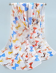 Printed Chiffon Shawl Bow Scarves Long Women