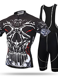 XINTOWN® Mountain Bike Road Bike MTB BMX Racing Outdoor Quick Dry Breathable Cycling Jersey Short Sleeve with Bib Shorts Cool Skull