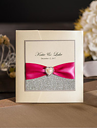 Classic Cream Glitter Wedding Invitations With Ribbon & Rhinestone Buckle Birthday Invitations Greeting Cards With RSVP SW850