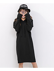 Women's Casual/Daily Cute Shift Dress,Solid Hooded Knee-length Long Sleeve Polyester Spring Mid Rise Micro-elastic Medium