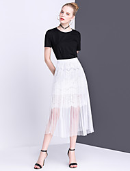 Women's Mid Rise Midi Skirts,Simple Cute Swing Pleated Solid
