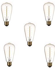 5pcs dimmable st64 40w e27 vintage edison lâmpada lâmpada incandescente branca quente lâmpada decorativa lâmpada bulbo ac220-240v