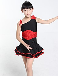 Latin Dance Dresses Kid's Performance Spandex 1 Piece Sleeveless Natural Dress