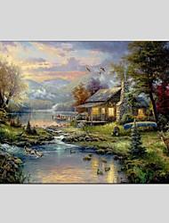 Peint à la main Paysage Panoramique Horizontale,Moderne Classique Un Panneau Toile Peinture à l'huile Hang-peint For Décoration