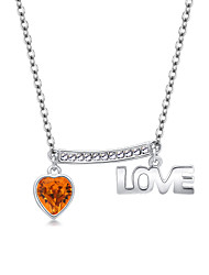 Women's Pendant Necklaces Crystal Geometric Chrome Love Heart Euramerican Fashion Personalized Light Blue Red Yellow Jewelry ForWedding