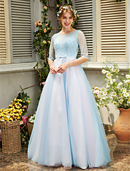Formal Evening Dress - See Through A-line Jewel Floor-length Tulle with Beading Bow(s) Crystal Detailing Sash / Ribbon
