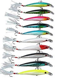 10 pcs Hard Bait Deep Diving Minnow Hard Fishing Lures Bass Crankbaits with Treble Hook Life-like Swimming Trout Fishing Tackle